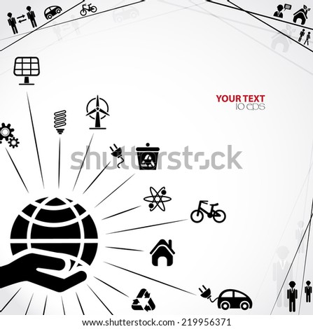 background with eco signs - stock vector