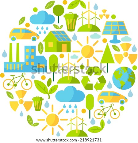 Background with ecology icons  - stock vector