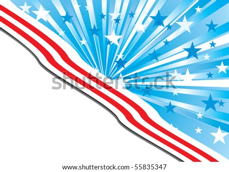 Background with elements of American flag, with the place for your text, vector Illustration