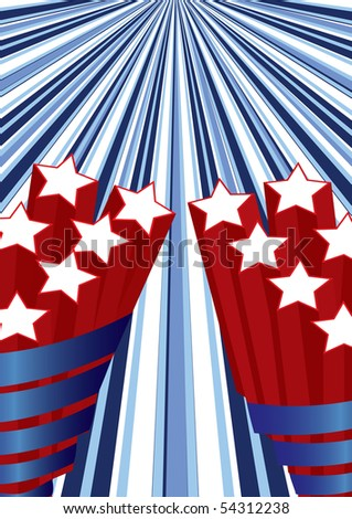 Background with elements of USA flag for independence day, vector illustration - stock vector