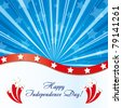 Background with elements of USA flag with congratulations and fireworks, vector illustration - stock photo