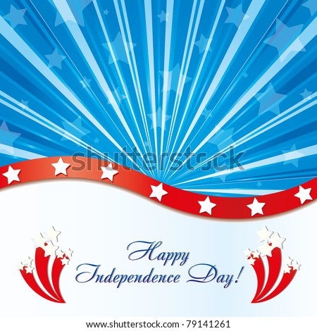 Background with elements of USA flag with congratulations and fireworks, vector illustration - stock vector