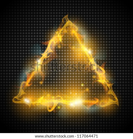 background with fire triangle - stock vector