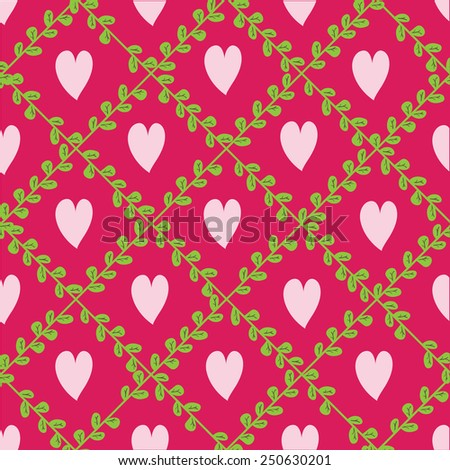 Background with floral elements and hearts. - stock vector