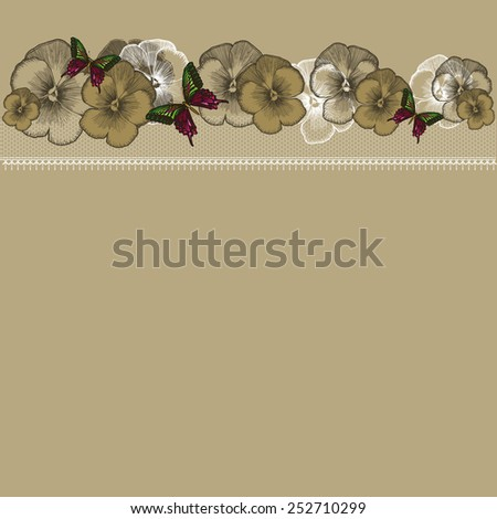 Background with floral ornament and lace, hand-drawing. Vector illustration. - stock vector