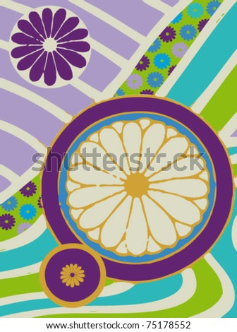 background with flower in japan style - stock vector