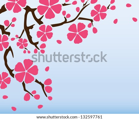 Background with flowering branch of sakura, vector illustration