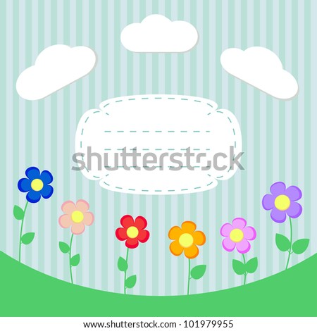 Background with flowers and frame for scrapbook