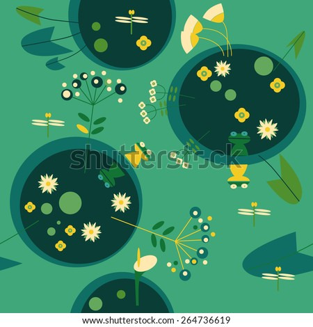 background with flowers and marsh frogs - stock vector