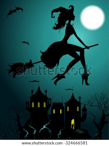 Background with flying beautiful sexy witch silhouette  - stock vector