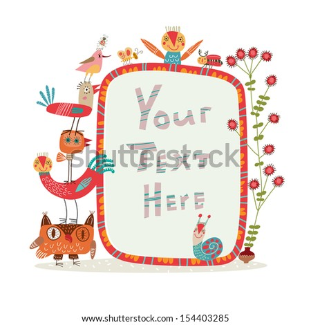 Background with frames for inscriptions with funny characters - stock vector