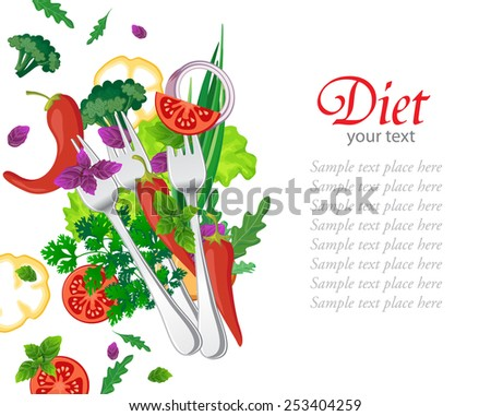 Background with fresh vegetables, diet - stock vector