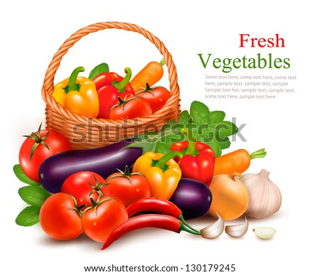 Background with fresh vegetables in basket. Healthy Food. Vector illustration - stock vector