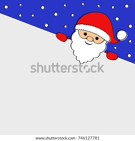 Background with funny cartoon Santa Claus. Vector.