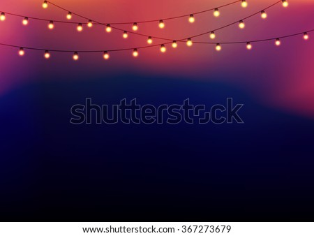 Background with garlands at the upper side, strings with glowing lights