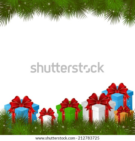 Background with gift boxes and branches of Christmas tree, illustration. - stock vector