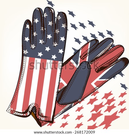 Background with gloves decorated by flags pattern