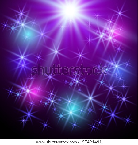 Background with glowing stars - stock vector