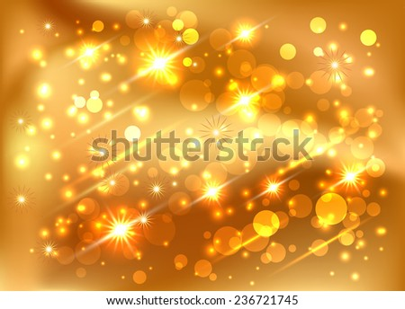 Background with glowing stars and boke - stock vector