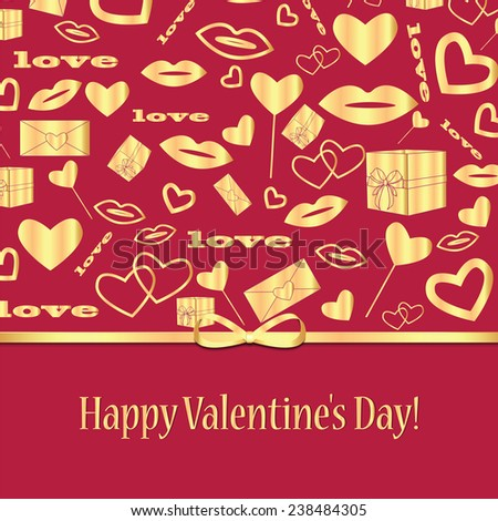Background with gold pattern and ribbon for Valentine's Day - stock vector