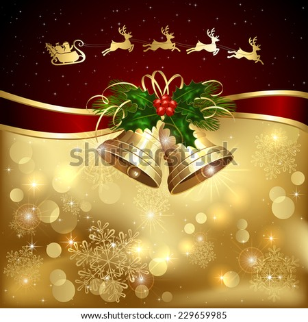 Background with golden Christmas bells, holly berry and Santa, illustration. - stock vector