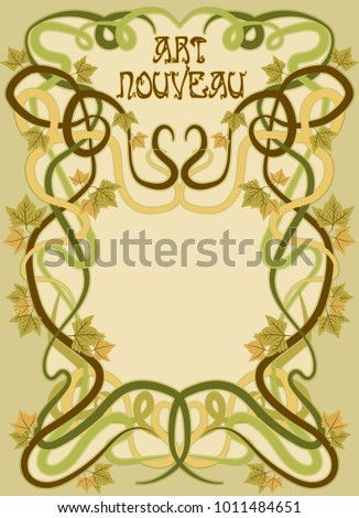 Background with grape leaves in art nouveau style, vector illustration