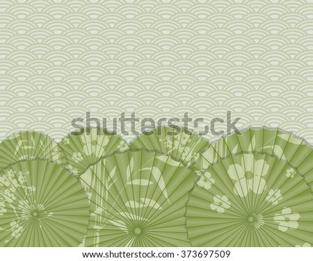 Background with green Japanese umbrella - stock vector