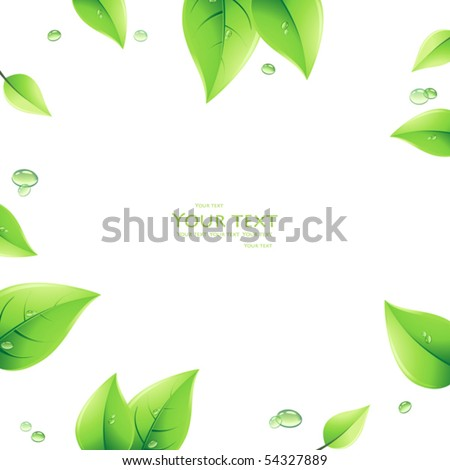 Background with green leaves chamomiles. - stock vector