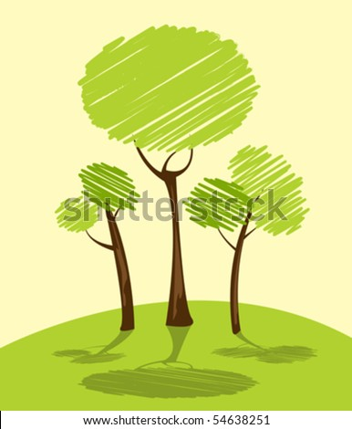 Background with green trees, cartoon sketch - stock vector