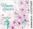 Background with greetings Happy Easter - stock vector