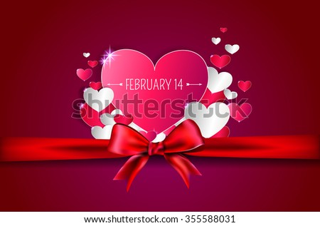 background with greetings to Valentine's Day with white hearts red ribbon with a bow - stock vector