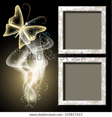 Background with grungy photo frame, butterfly and smoke for inserting text and photo - stock vector