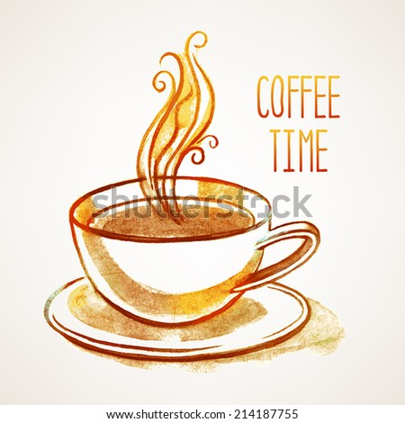 background with hand-drawn watercolor cup of coffee and place for text - stock vector