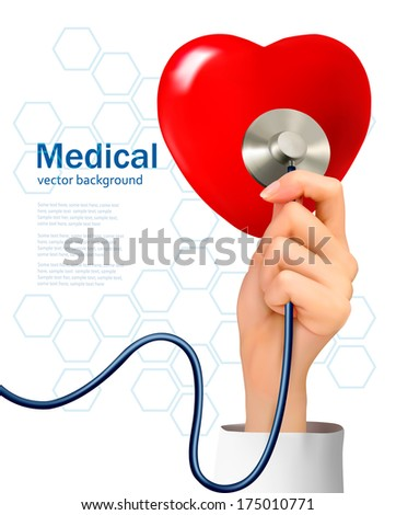 Background with hand holding a stethoscope against a heart. Vector.  - stock vector
