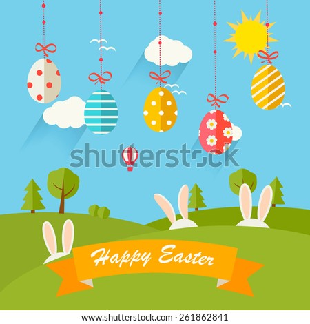 Background with hanging eggs, rabbits and landscape, vector illustration. Happy Easter greeting card - stock vector