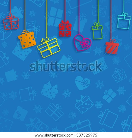 Background with hanging gift boxes, multicolored on blue - stock vector