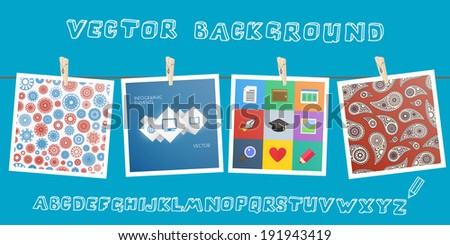 Background with hanging images. Vector illustration - stock vector