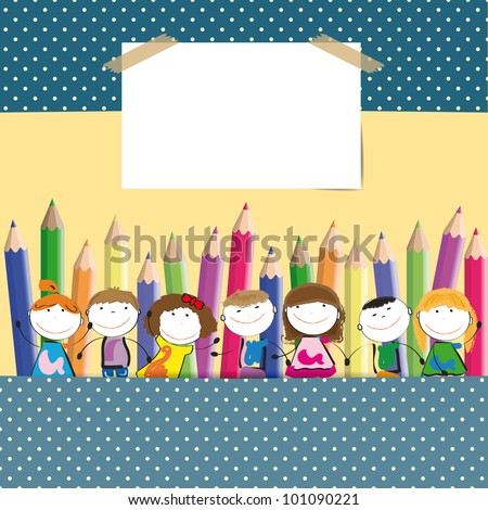 Background with happy kids and colorful crayons - stock vector