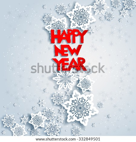 Background with Happy new year. Design for card, banner, invitation, leaflet and so on. - stock vector