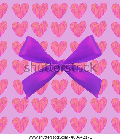Background with hearts and bow on white. VECTOR illustration. Pink scribble hearts and purple bow.   - stock vector