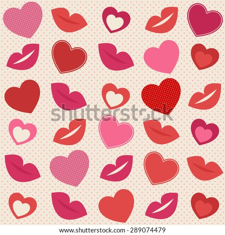 Background with hearts and lips - stock vector