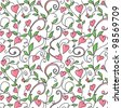 Background with hearts ornament - stock vector