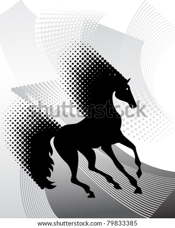 Background with horse - stock vector