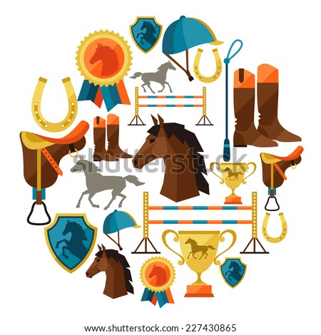 Background with horse equipment in flat style. - stock vector