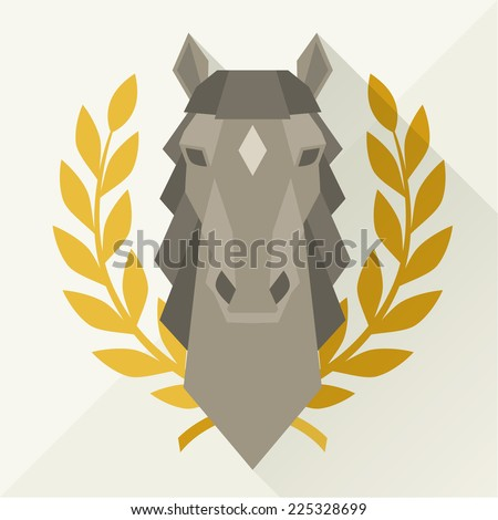 Background with horse head in flat style. - stock vector
