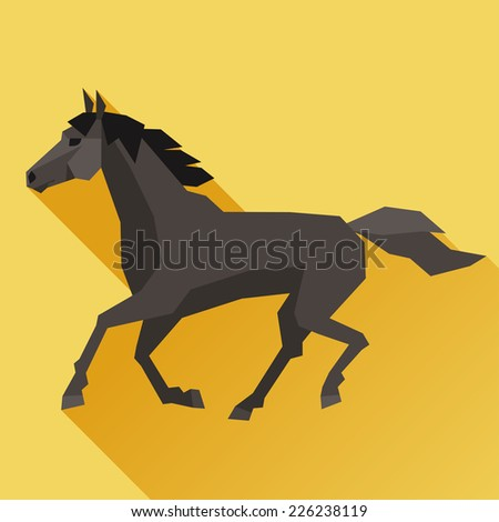 Background with horse running in flat style. - stock vector