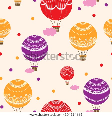 Background with hot air balloons, Vector illustration of colorful hot air balloons - stock vector