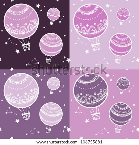 Background with hot air balloons, Vector illustration of colorful hot air balloons. set. collection. - stock vector