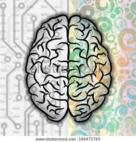 Background with human brain different parts. eps10