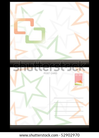 background with indian flag color star pattern postcard - stock vector